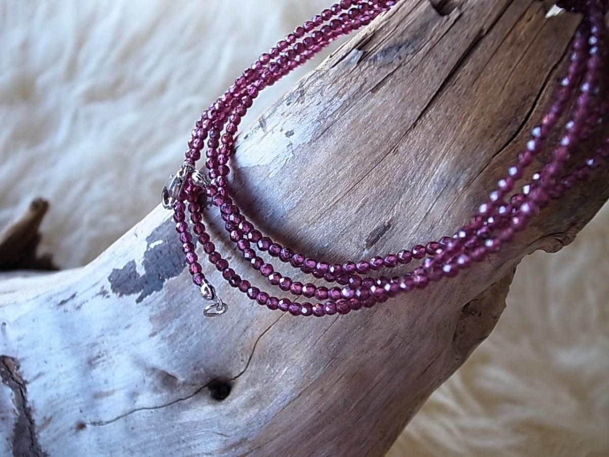 Halskette Edelstein rubin 2mm, Länge 90cm, CHF 48.00 (auch als Mehrfacharmband geeignet)
