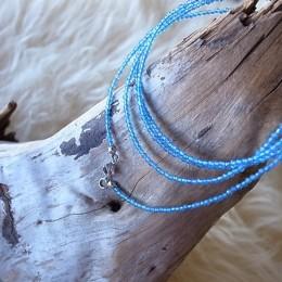 Halskette Edelstein hellblau, 2mm, Länge 90cm, CHF 48.00 (auch als Mehrfacharmband geeignet)