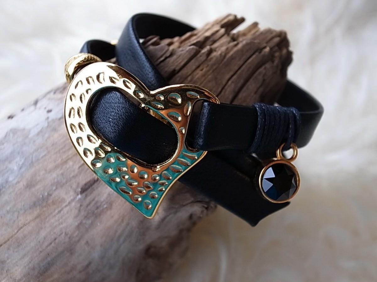 Armband Leder mit Metallteil golden nickelfrei 2fach CHF 27.00