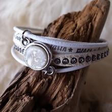 Armband aus Leder und Stoff weiss, nickelfrei CHF 42.00